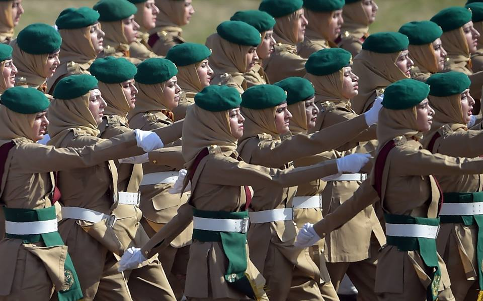 15 - Female Pakistani Army Soldiers March Past During a Pakistan Day Military Parade