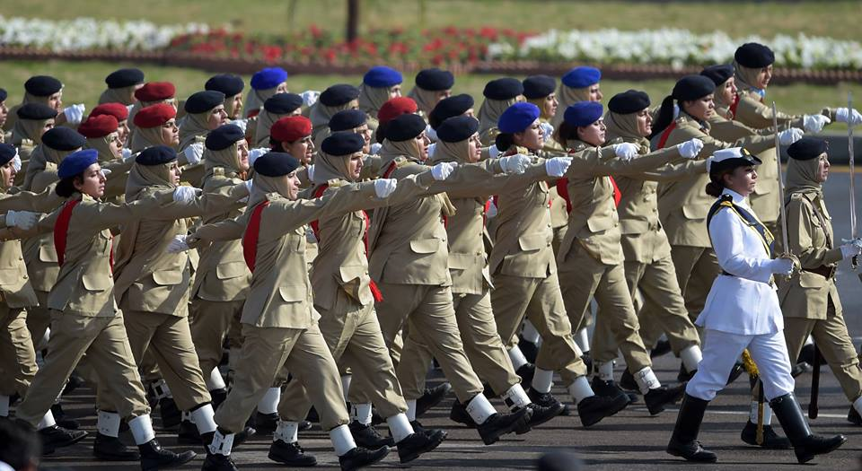 16 - Female Pakistani Soldiers March Past During A Pakistan Day Military Parade