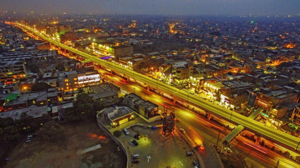 Night View of Elevated Metro Track in Lahore