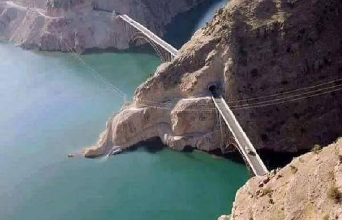 Aerial View of Bridge over Atabad Lake