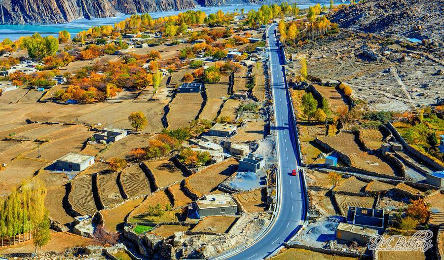 Karakoram Highway in Hussaini Village - Gojal