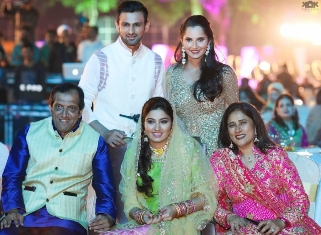Shoaib Malik with his wife and her family