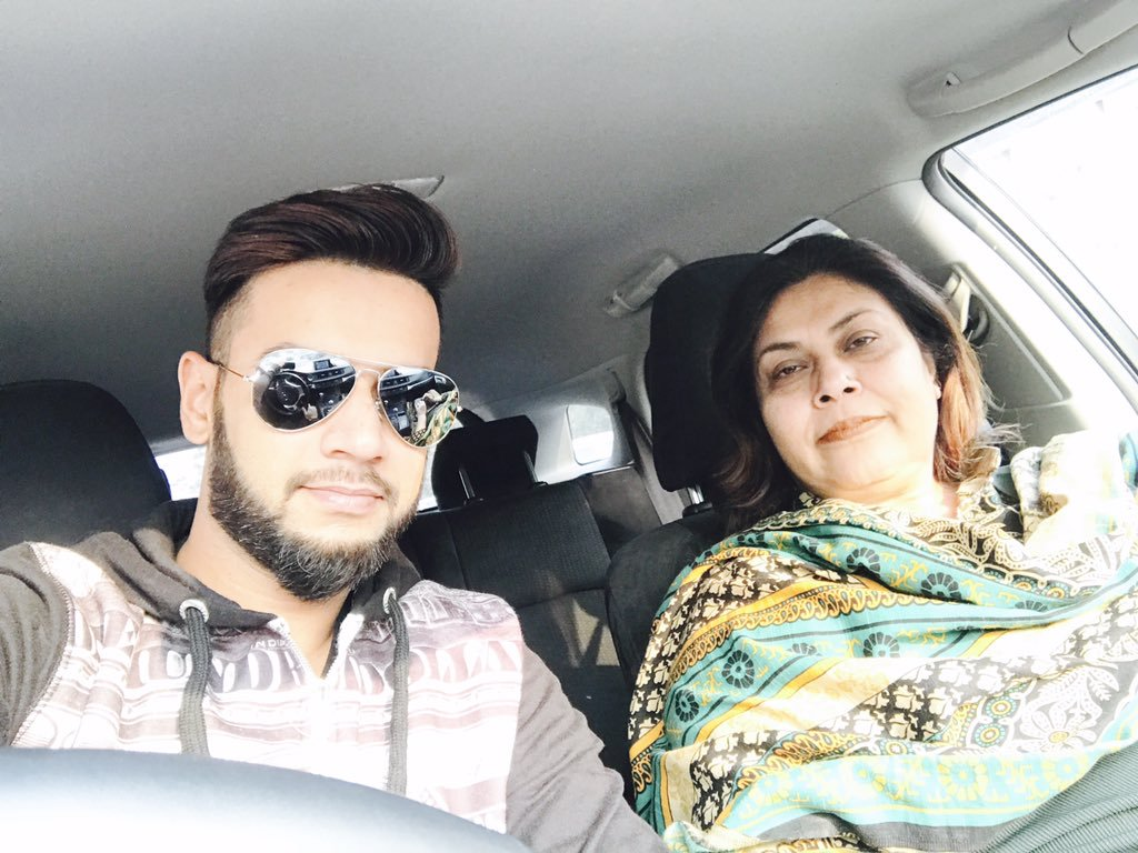 Imad Wasim with his mother