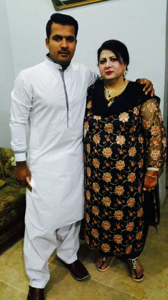 Sharjeel Khan with his mother