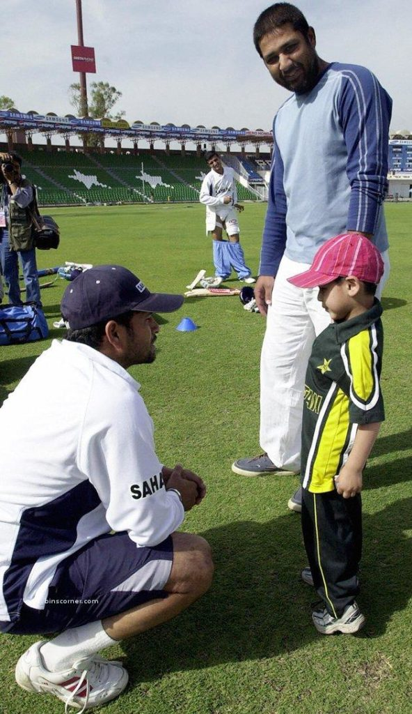 Inzammam with his son meeting Sachin