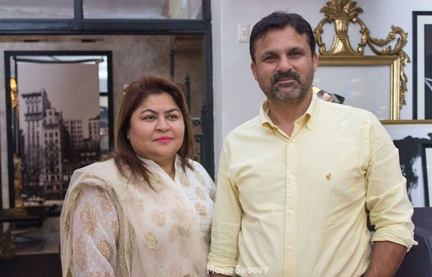Moin Khan with his wife