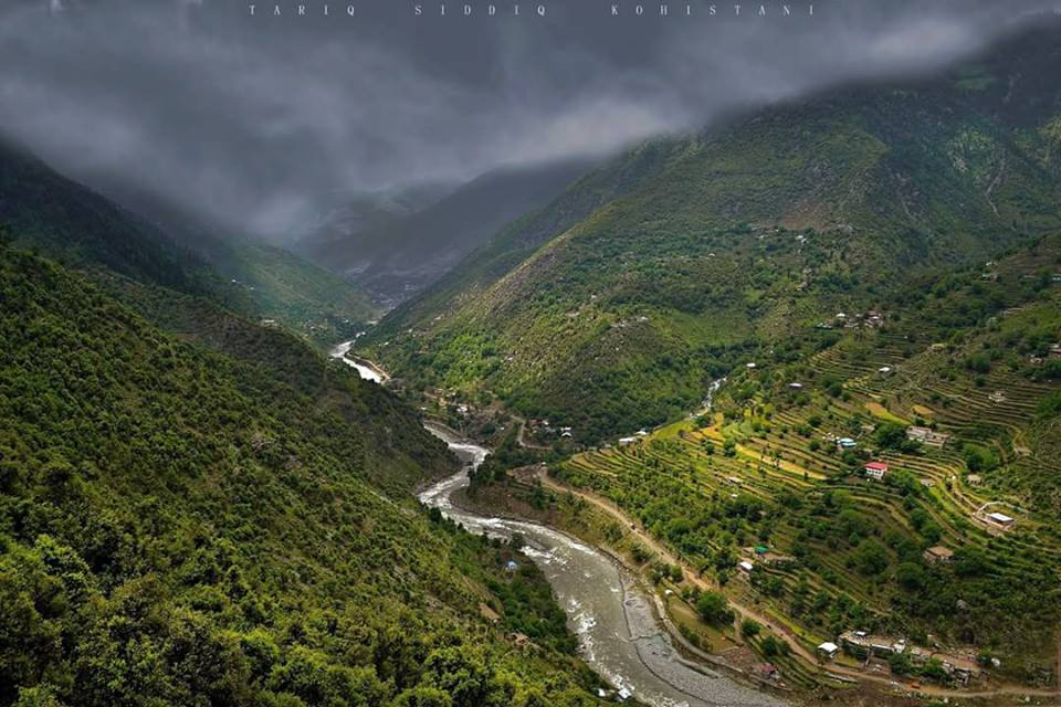 River swat Along with Bahrain-Kalam road as seen from GURNAL, Swat valley