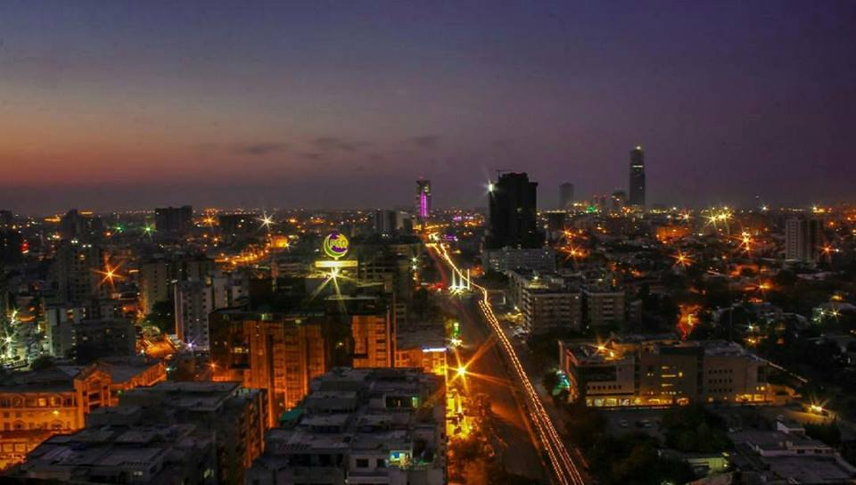 15 - night skyline karachi