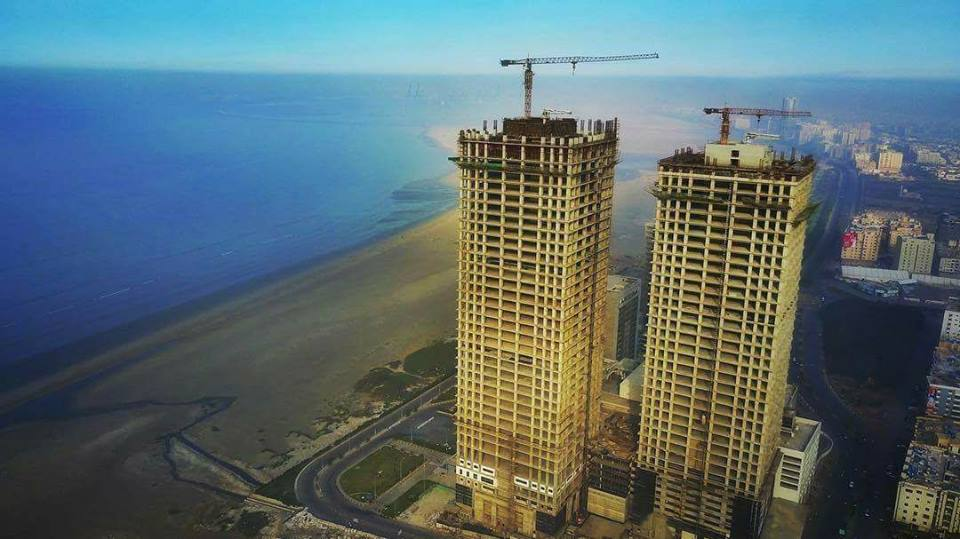 20 - Under-construction 40-storeys Dolmen twin towers in Clifton - Karachi