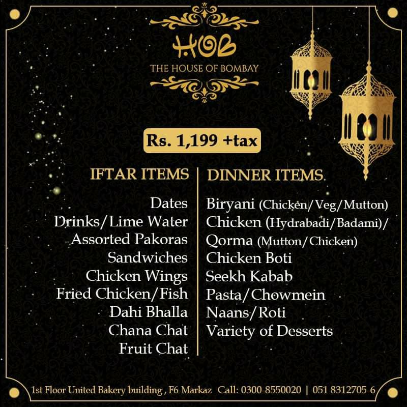 House of Bombay - 1199 Plus Tax