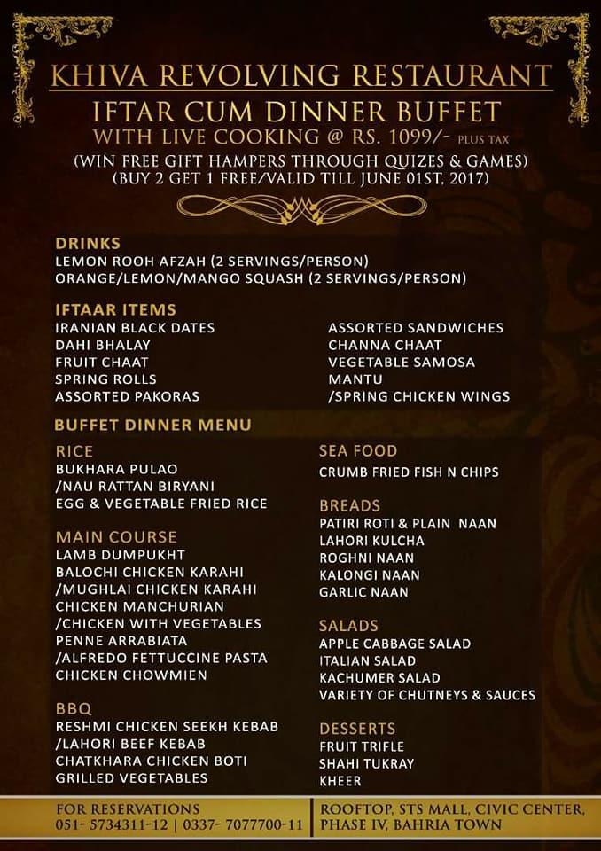 Khiva Revolving Restaurant - Bahria Town - 1099 Plus Tax