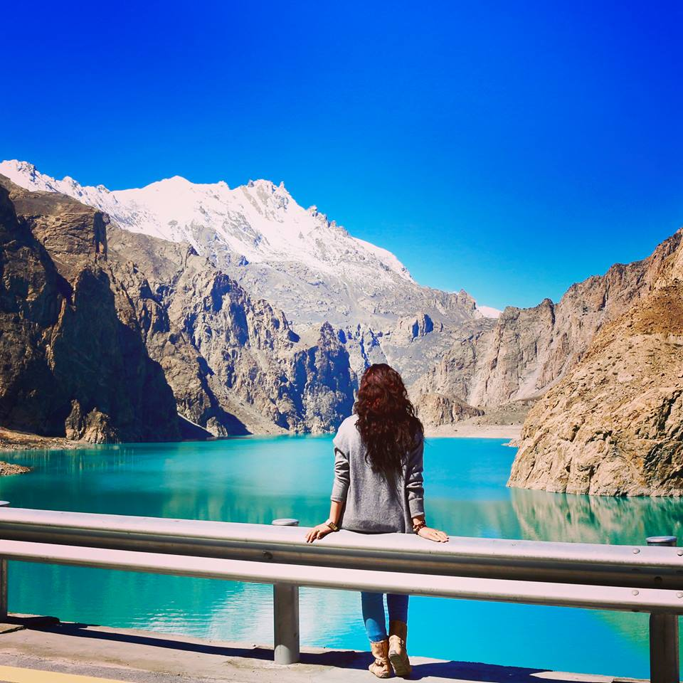 12 - A Girl Enjoying the Spectacular View of Attabad Lake - Gilgit Baltistan