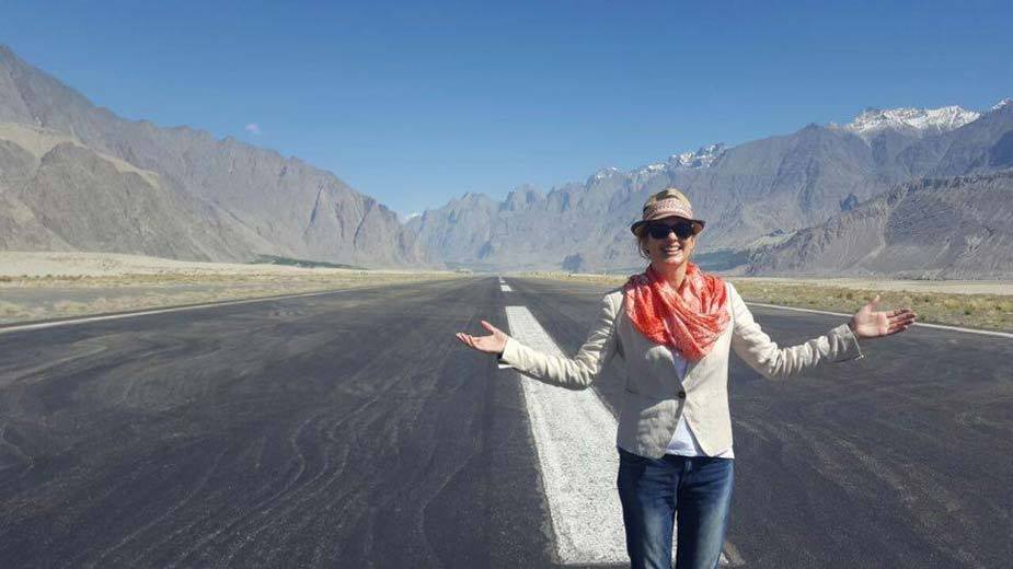 10 - Australian Tourist Sophee Southall at the runway of Skardu Airport
